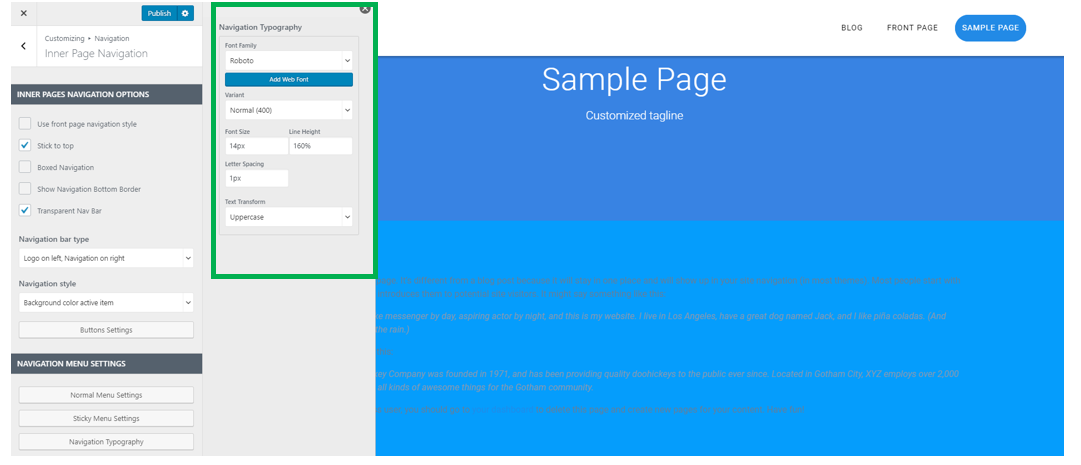 Inner Pages Navigation - Materialis Theme
