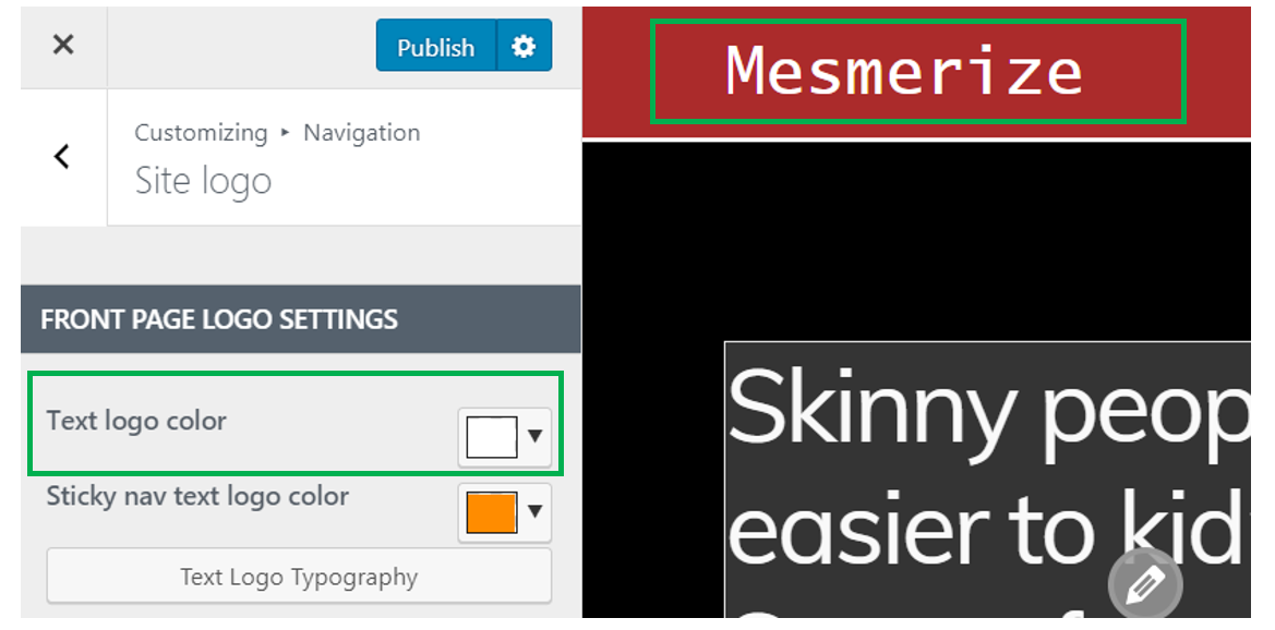 insert a logo text for your new website in the logo settings section insert a logo text for your new website