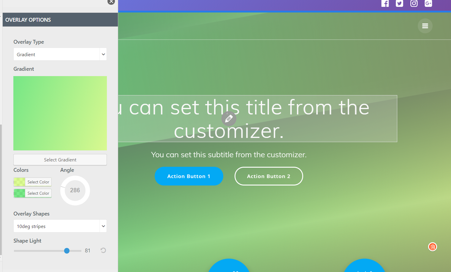 Customization of hero backgrounds in your WordPress theme