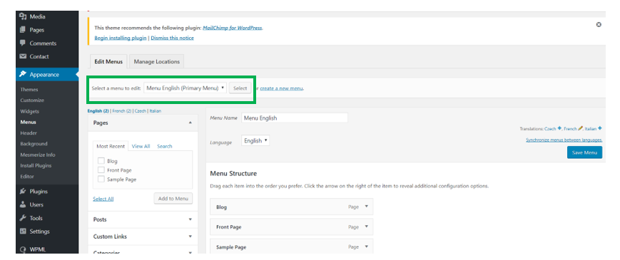 Set the Mesmerize theme language in WordPress